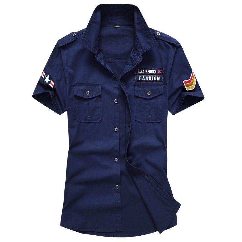 Wholesale-New Summer Men shirt high quality cotton short sleeve shirts military army dress shirt mens shirts casual male clothing M-6XL