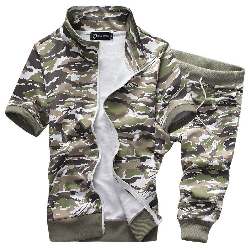 Wholesale-2016 summer men sport hoodies suit short sleeve camouflage military tracksuit sweatshirts M-3XL JPYG18