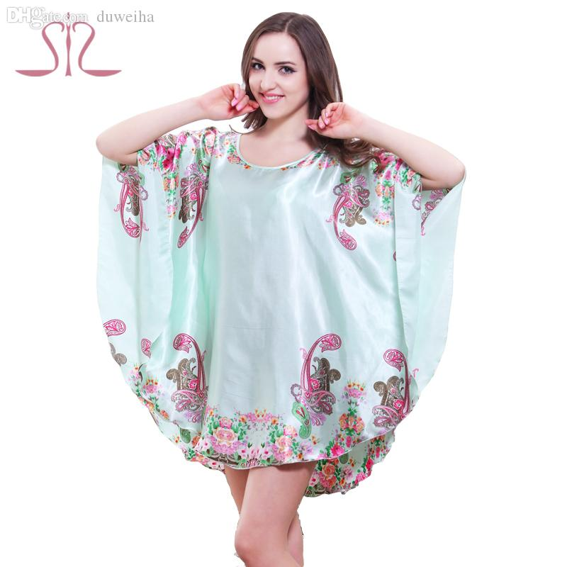 Wholesale-Top Promotion Summer Style Cute Charming Plus Size Home Clothing Women Pyjamas Loose Silk Bathrobe Women Dressing Gowns 10143
