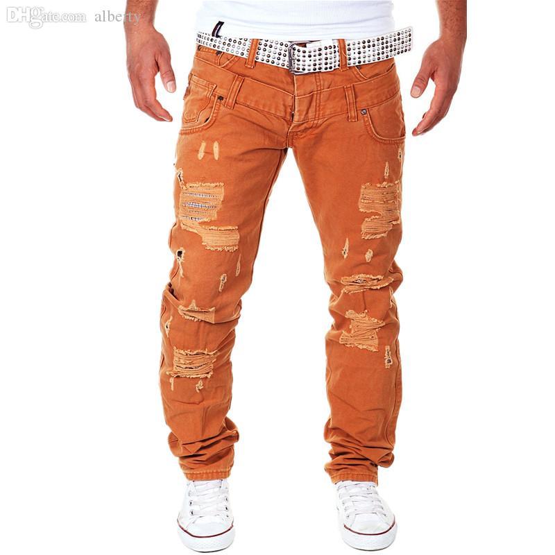 Wholesale-6 color 2016 New Famous Brand Vintage Men designer Casual Hole Ripped Jeans Mens Fashion Skinny Denim Cargo Pants Hip-hop Male