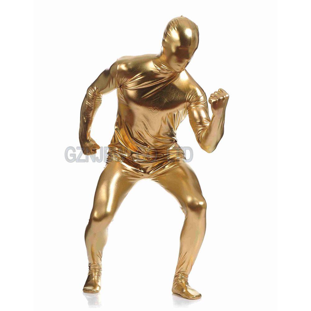 Wholesale-Adult Mens Faux Leather Metallic Gold Bright Full Skin Zentai Cosplay Costume Halloween Suit Bodysuit Unitard leotard