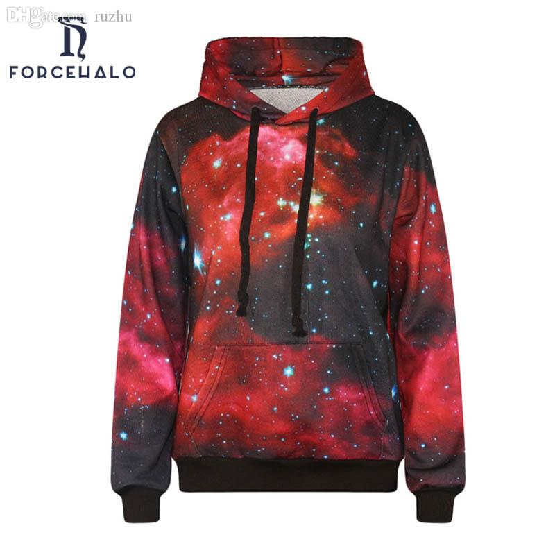 Wholesale-2016 Brand New Men Sweatshirt Red Space Galaxy Star Mens Hoodies Casual Pocket Design Tracksuit Male High Quality