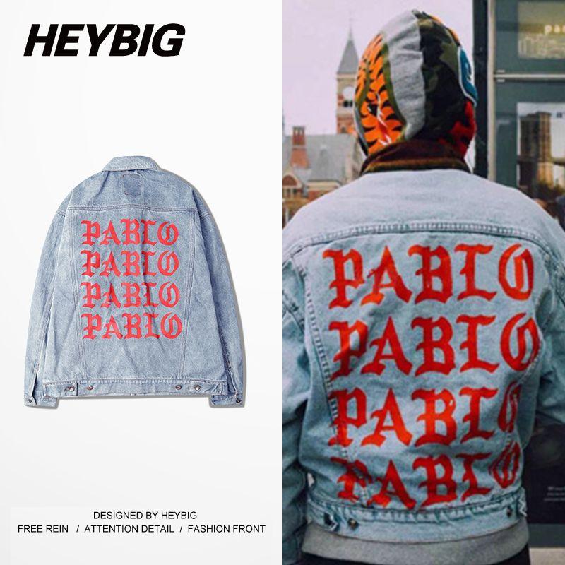 Fall-Light Blue Denim Jacket Kanye west PABLO Album Souvenir Heybig Swag Clothing Street Fashion Hiphop men jean Jackets China Size