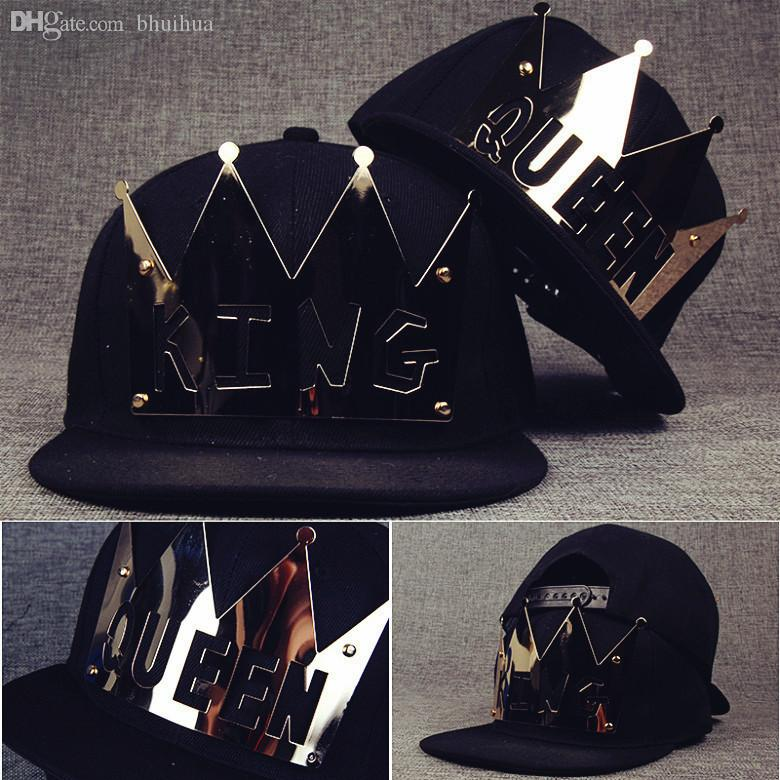Wholesale-New Pattern Light Panel Willow Nail Iron Hip Hop Hat An Crown KING Queen Letter Flat Edge Baseball Hats Han Banchao 1526263106