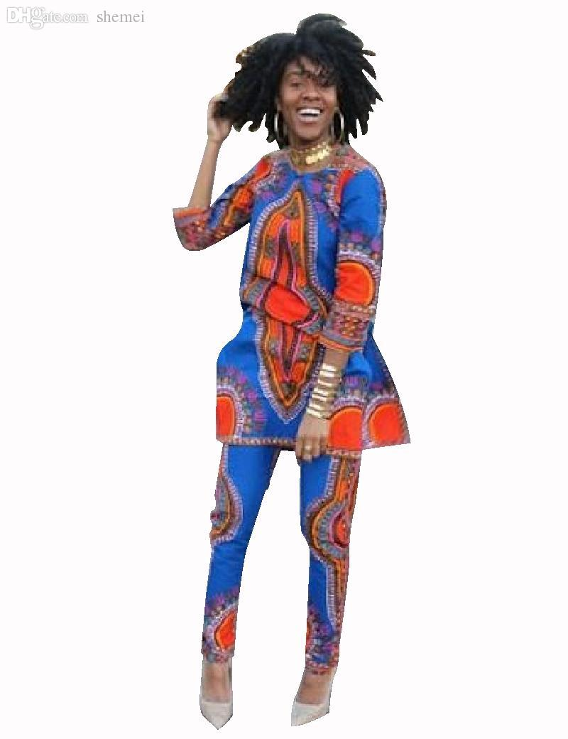 Wholesale-Two Piece Set Java Wax Print FabricTop and Pants Women Suits Two Piece African Women Clothing Plus Size 6xl Brand CustomWY484