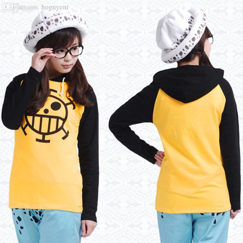 Wholesale-Anime One Piece Trafalgar Law Cosplay Costume Thin/Thick Jacket Unisex Yellow Casual Hoodie Coat Sweatshirts