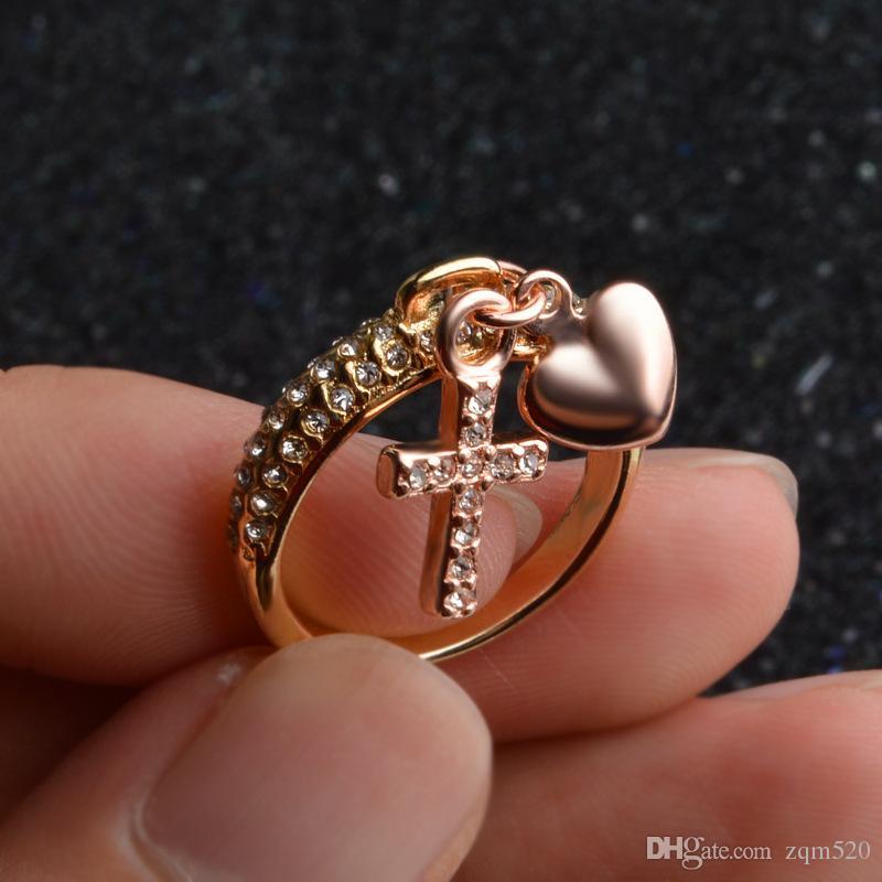 Großhandel Verkauf! Kreative Kreuzliebes Diamantring Weibliche ...