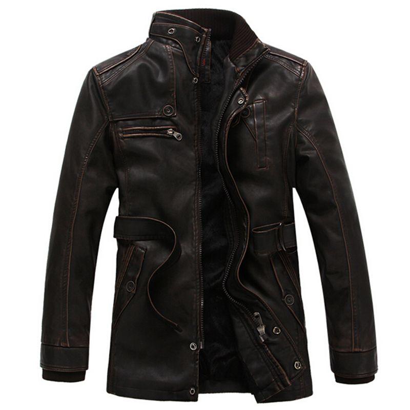 Fall-Leather Jacket Men Winter Jackets and Coats Thickening Fur Windbreak Waterproof Warm Skin Lamb Fur Trench Coat Jaqueta de couro