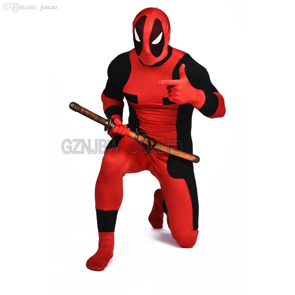 Wholesale-Adult Mens Deadpool Dead-pool red Full Skin Zentai Cosplay Costume Halloween Suit Bodysuit Unitard leotard
