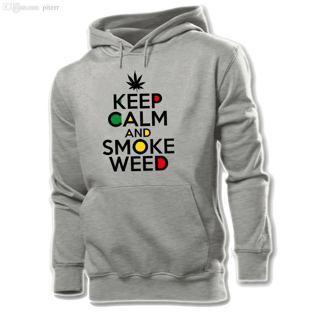 Wholesale-Keep Clam and Smoke Weed Cotton Pattern Printed Hoodie Men's Boy's Graphic Sweatshirt Tops White Yellow Grey