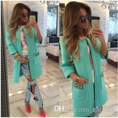 Wholesale-New Arrival Fashion Trench Long Coat Outwear Cardigan Solid Autumn Winter Long Coats