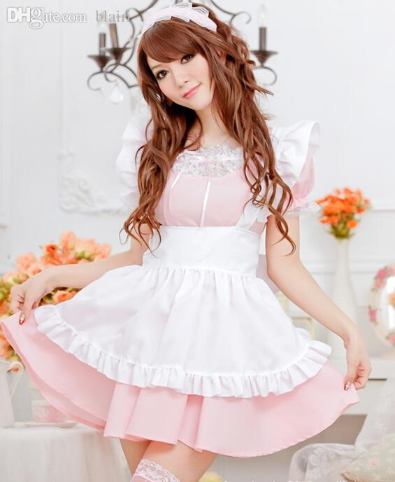 Wholesale-Hot Sale Alice Lolita Dress Maid Cosplay Fantasia Carnival Halloween Costumes for Women Pink