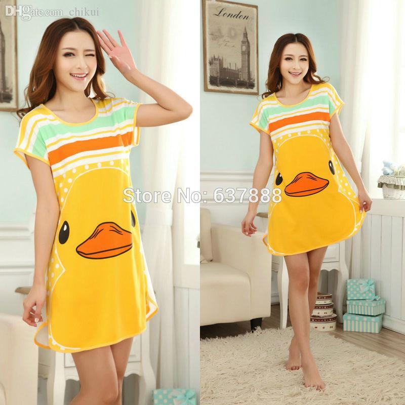 Wholesale-2016 Summer Night Lounge Sleepshirts Women Sleepwear Animals Yellow Duck Women's Nightgown Cartoon Dress Female Nightdress