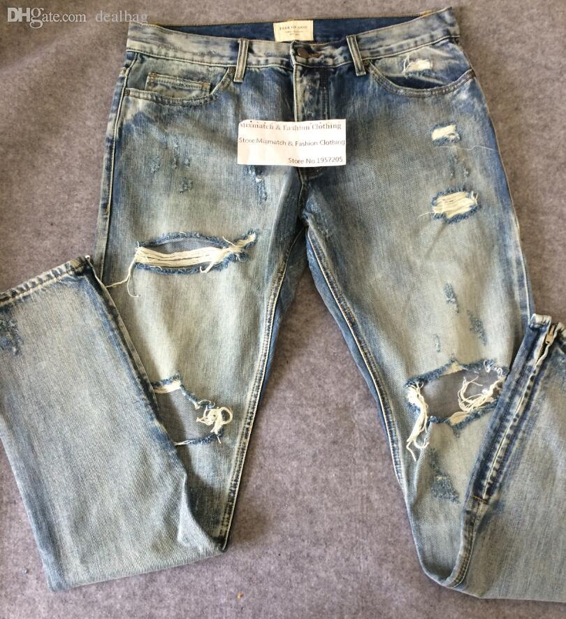 Wholesale-Famous Brand Justin Bieber Ripped Denim Jeans Top Version Ankel Zippered Design Mens Distressed Fear Of God Streetwear