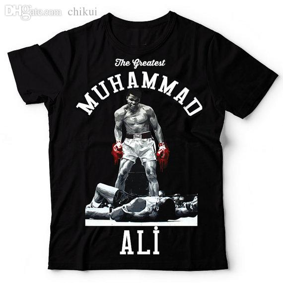 Wholesale-MUHAMMAD ALI T shirt men The Greatest Fitness short sleeve printed top cotton tee shirt US plus size S-3XL