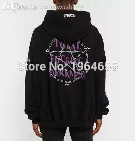 Wholesale-2016 2017 rare new hiphop design vetements total fucking darkness men unisex baggy oversized black hoodie Brand Sweatshirts S-XL