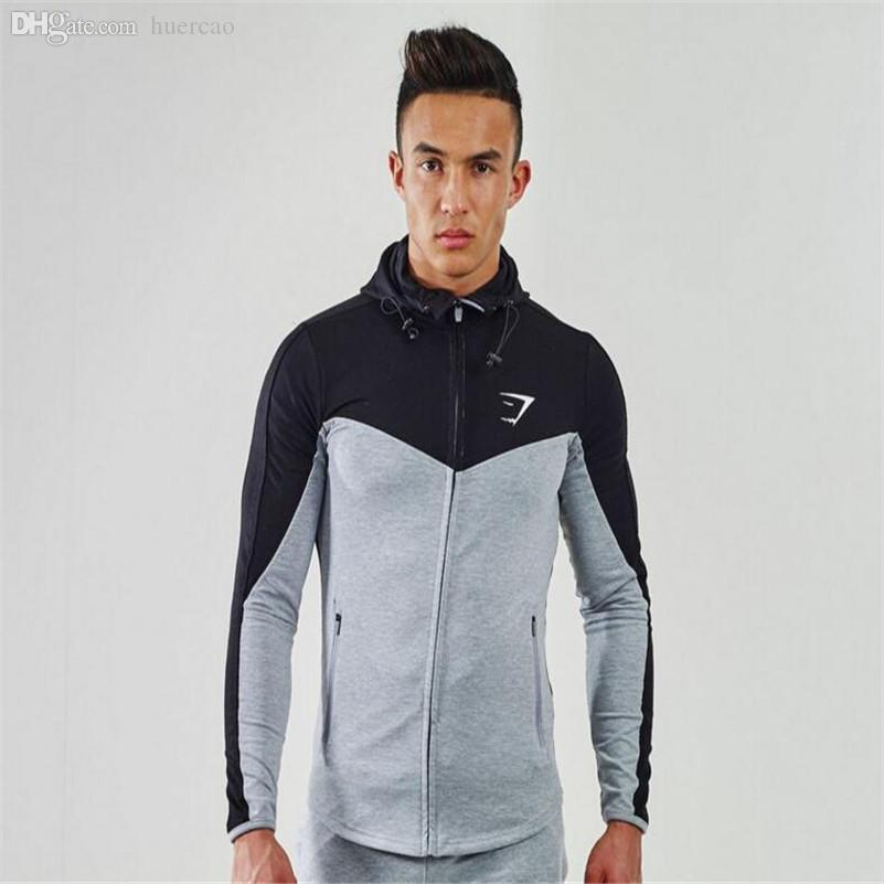 Wholesale-Snapback Gym Men Hoodie Boys Clothes Runners Mens Shark Sweatshirt Fitness Sports Wear For Bodybuilding Cotton Jogging Discount
