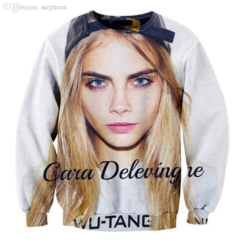 Wholesale-Free Shipping Unisex Fashion New Hot 3D Model Cara Delevingne Print Sexy Hoodies Crewnecks Sweatshirts For Women and Men