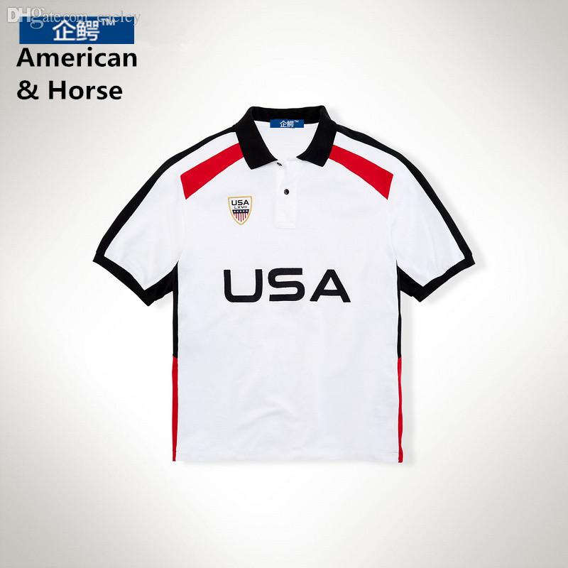 Wholesale-NEW Freeshipping Famous Brand Top Quality Horse Men's Solid Tops Short Sleeves Casual Shirts Male Summer Sport 6colors Asia