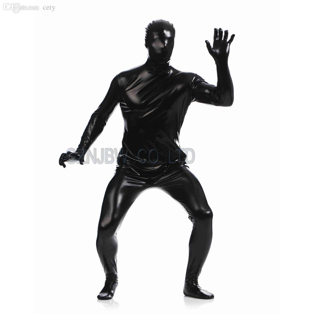Wholesale-Adult Mens Faux Leather Metallic Black Bright Full Skin Zentai Cosplay Costume Halloween Suit Bodysuit Unitard leotard