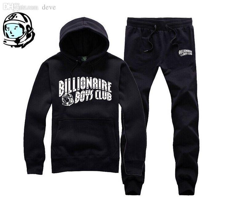 Wholesale-BBC Billionaire Boys Club Men high quality men's cotton HIP HOP Hoodies black and blue hoodie +pants