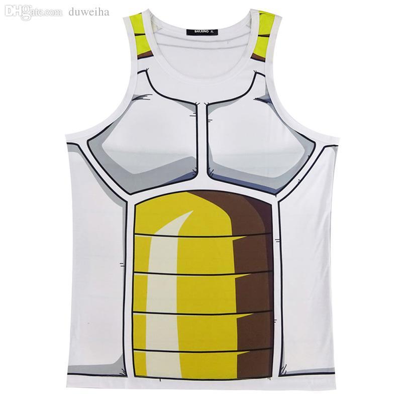 Wholesale-Men Dragon Ball Z 3D Tank Top Vegeta Goku Vest Sleeveless Summer