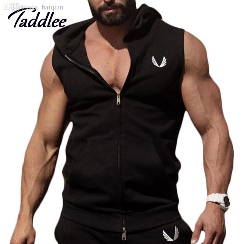 Wholesale-Men Cotton Hoodie Sweatshirts fitness clothes Gym bodybuilding tank top men Sleeveless sport Tees Shirt Casual golds gym vest