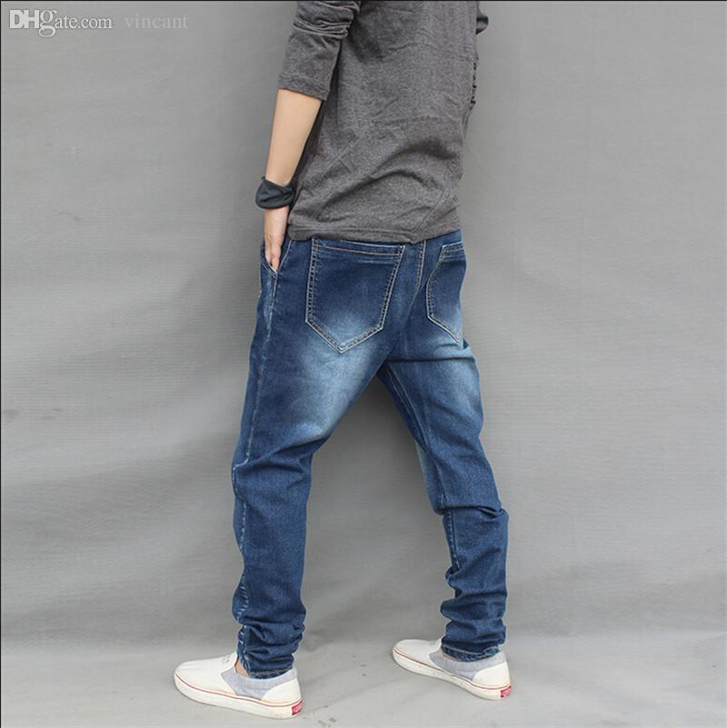 Wholesale-Fashion 2016 New Baggy Elastic Harem jeans Men Plus Size Taper Jeans Joggers Casual Hip hop Legging Pants Pencil Jeans