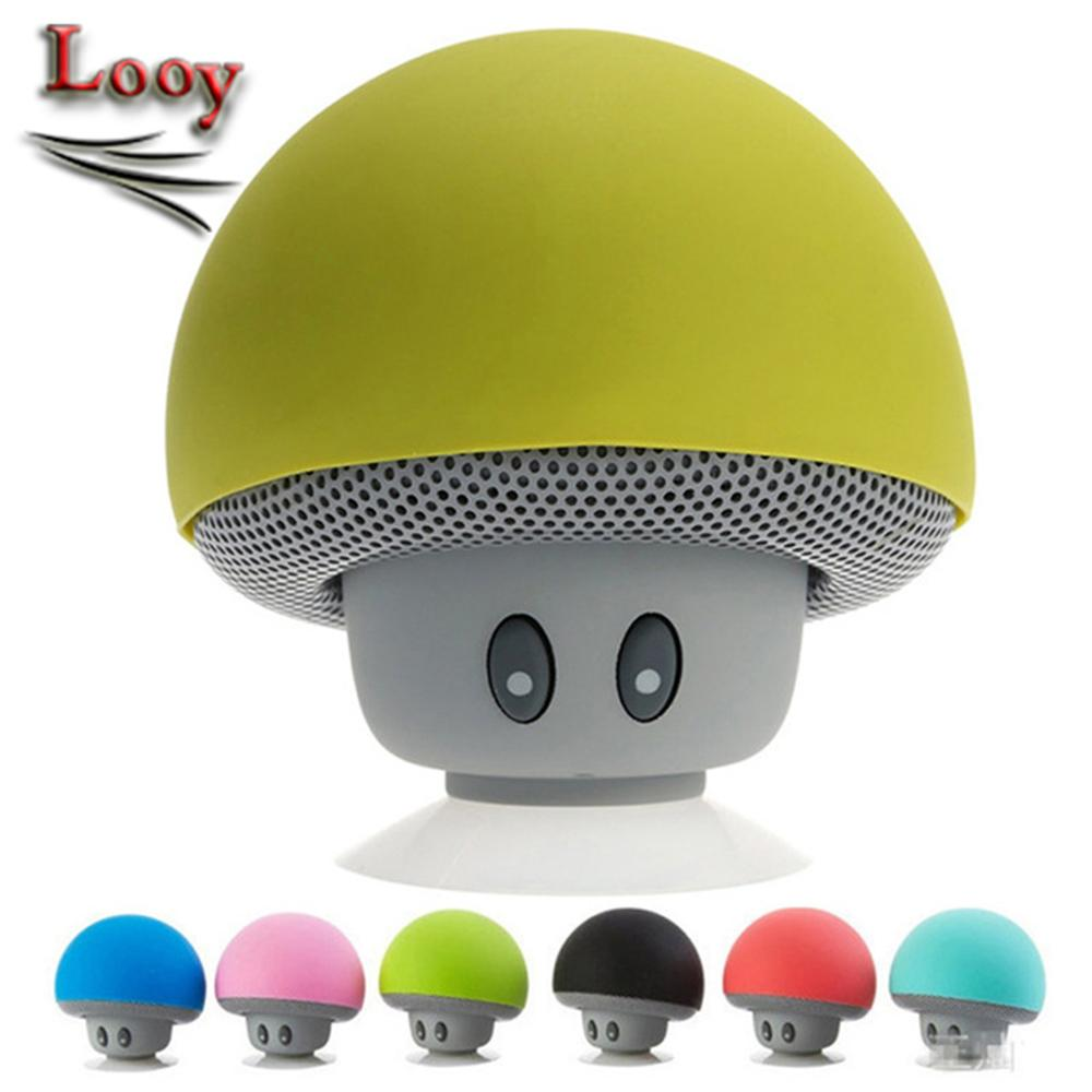 Mini Bluetooth Speakers Mushroom Style With Mic Suction Cup Stereo Subwoofer Wireless Portable MP3 Music Player Loudspeakers