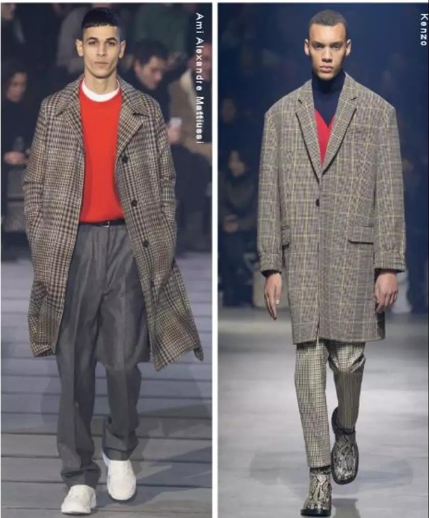 格纹长外套