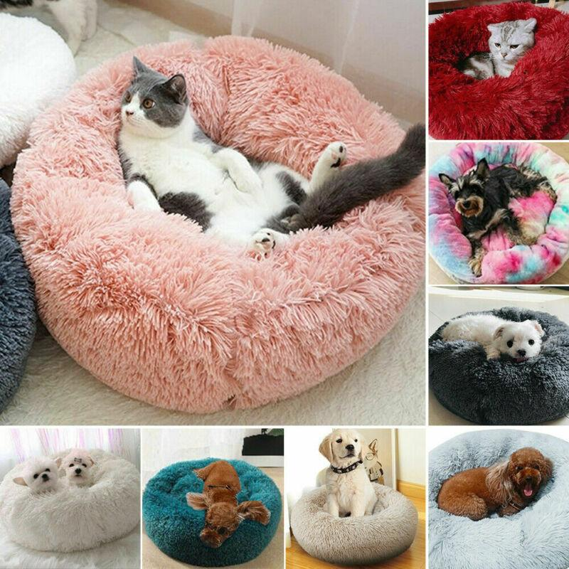 Pet Dog Cat Calming Bed Warm Soft Plush Round Cozy Nest Comfortable Sleeping Mat