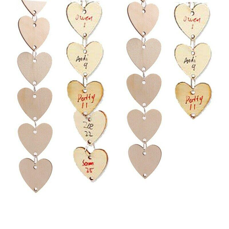 50pcs Unfinished Wood Tags With Hole DIY Wooden Discs Heart/Round Shapes Craft