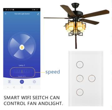 Smart WiFi Fan Light Switch, in-Wall Ceiling Fan Lamp Switch Works with Alexa
