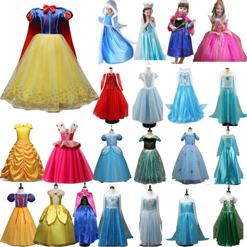 Kids Belle Elsa Anna Cosplay Costume Dress Girls Princess Fairytale Party Dress