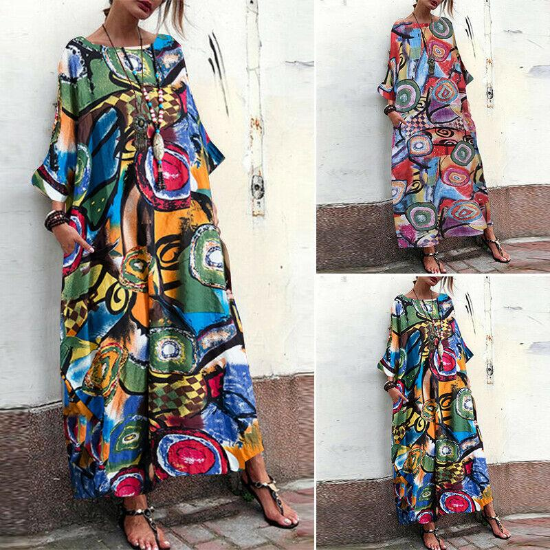 Women Ink Floral Print Long Maxi Dress