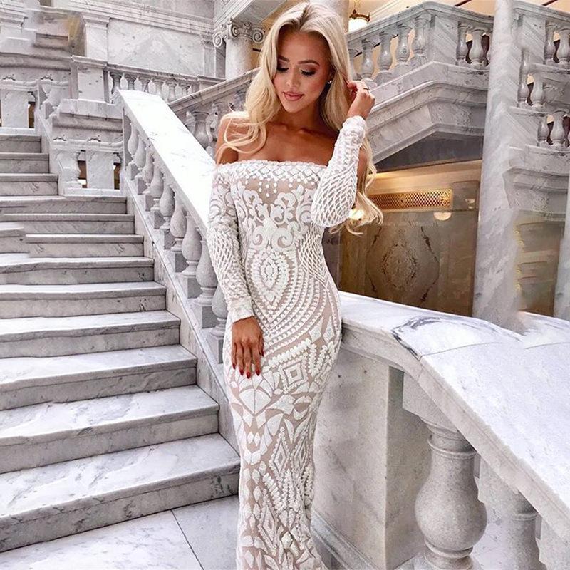 Lace Sequin Evening Dresses