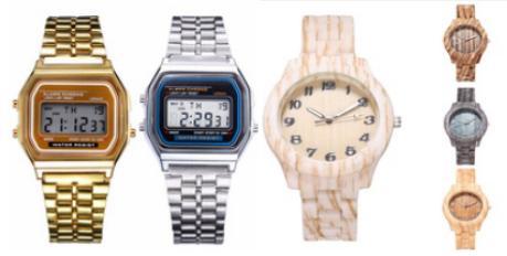 复古电子表、木质手表