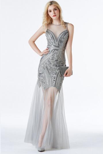 V Neck Sequin Sheer Evening Dresses