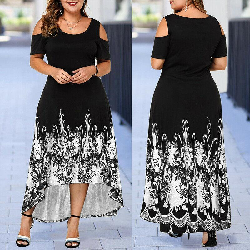 US Plus Size Womens Cold Shoulder Asymmetric Maxi Dress