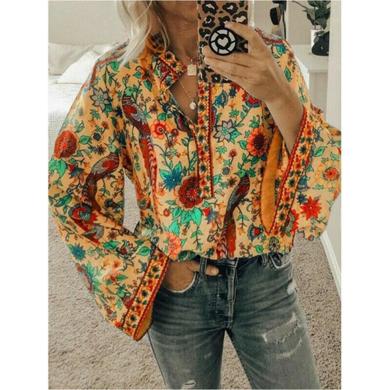 Women Boho Lantern Long Sleeve Loose Tops