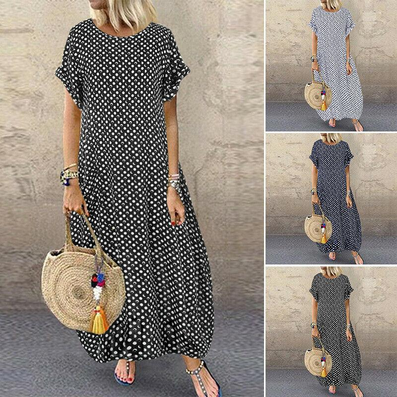 Women Short Sleeve Polka Dot Shirt Dress