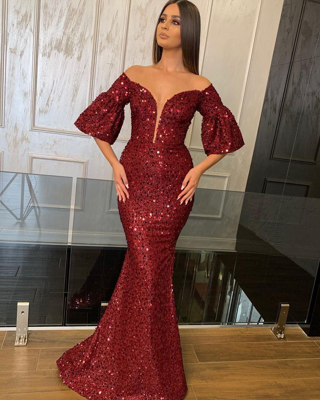 Deep V Neck Sequin Evening Dresses