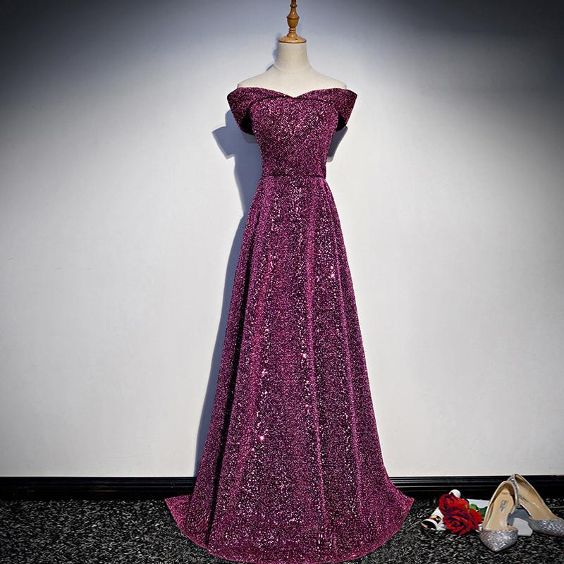 Zipper Back Sequined Evening Dresses