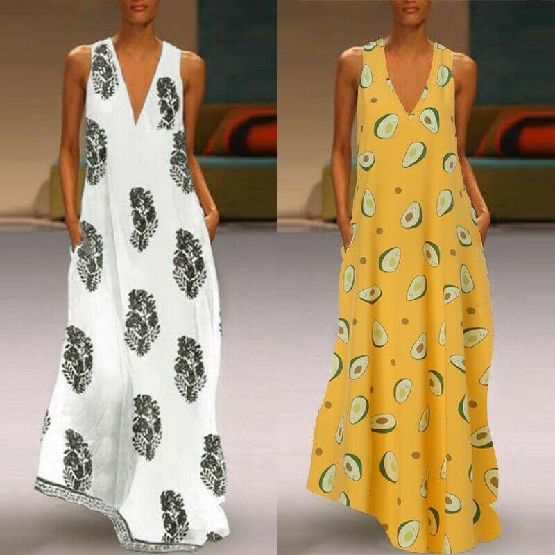 Women Sleeveless Bohemia Long Maxi Dress