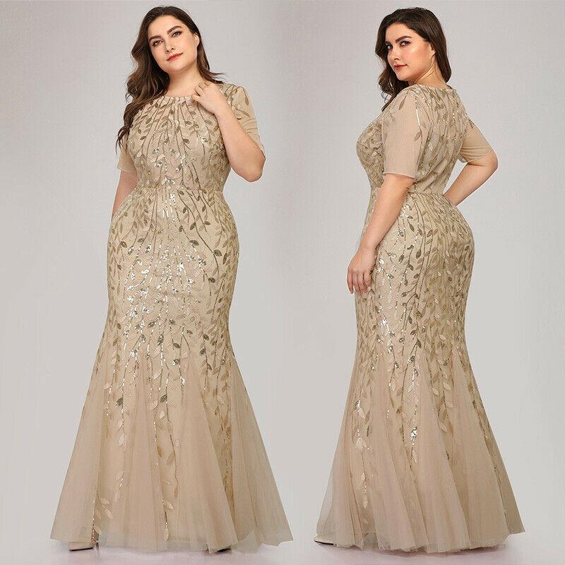 Plus Size Women Short Sleeve Evening Gowns Bridesmaid Party Dress
