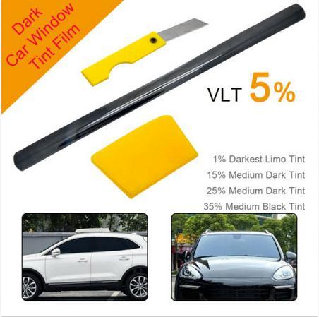 76x600CM Black Window Tint Solar Film Car Film Scratch Resistant Membrane VLT 5%