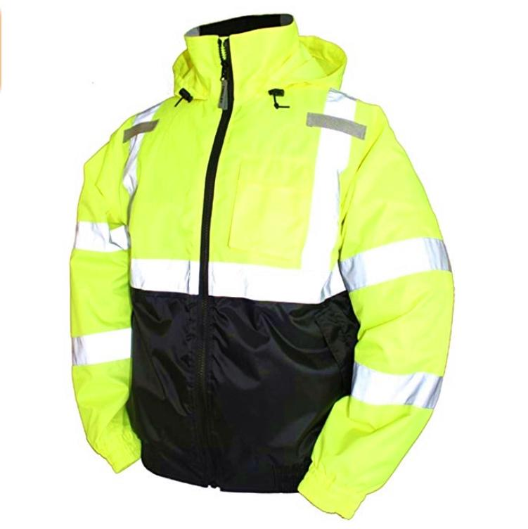 Safety Rain Jacket Waterproof Reflective High Visibility with Detachable Hood