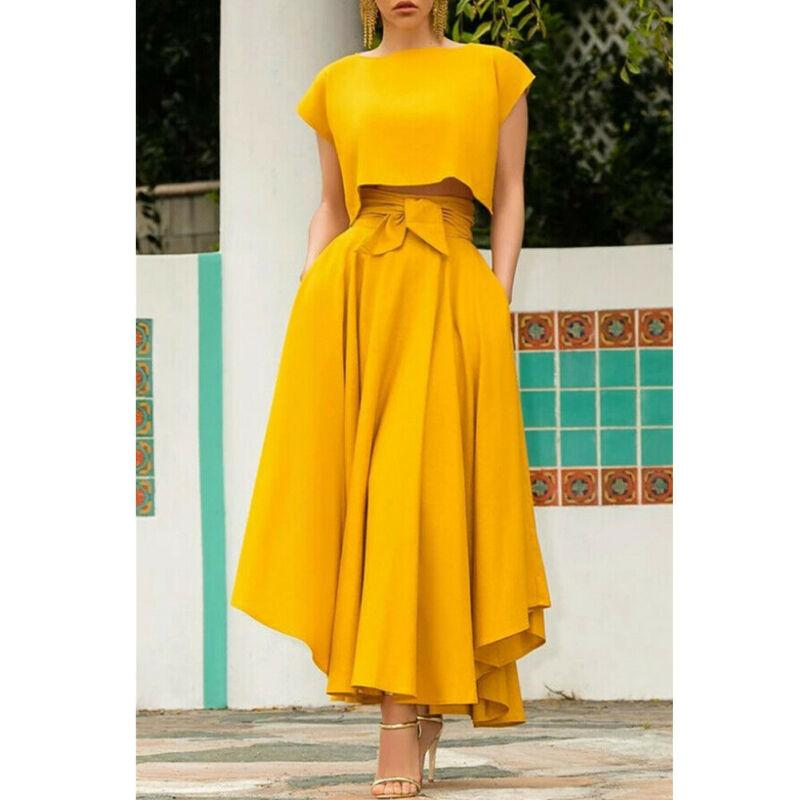 Women High Waist Flared Pleated Long Dress
