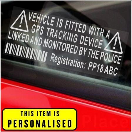 4 Vehicle Anti Theft Sticker-Personalised Tracker Warning Deterrent Sign Car,Van