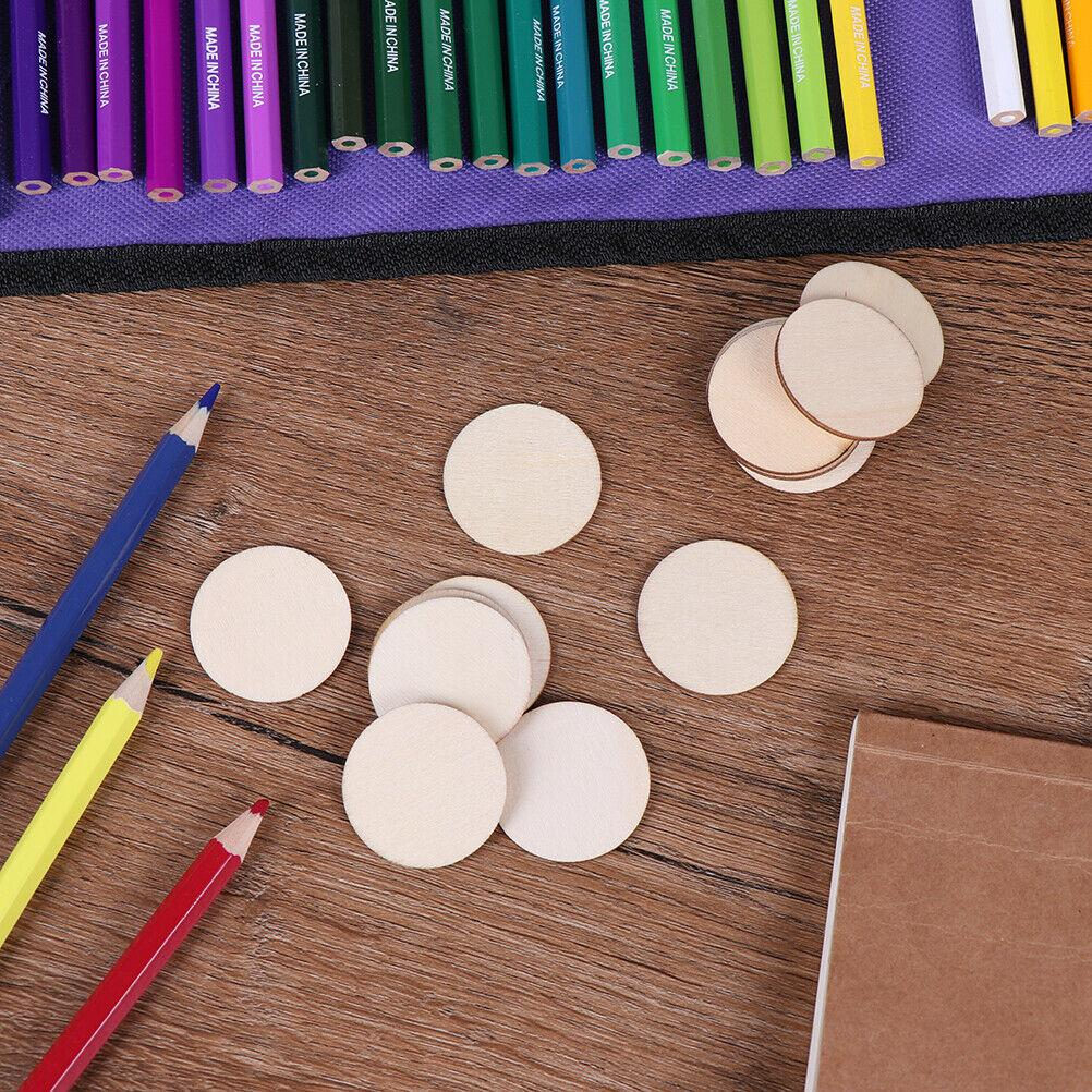 50x DIY Natural Blank Wood Pieces Slice Round Unfinished Crafts Wooden Discs~OJ